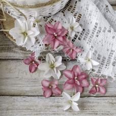 Набор цветов Pastel Flowers Гортензии Дуболистные, розово-бордовые