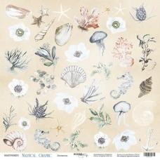 Лист односторонней бумаги 30x30 Элементы из коллекции Nautical Graphic
