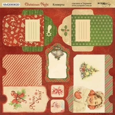 Лист двусторонней бумаги 20х20см Конверты Christmas Night