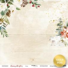 Лист односторонней бумаги 30x30 с золотым тиснением Север из коллекции Merry Christmas