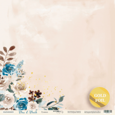 Лист односторонней бумаги 30x30 с золотым тиснением Румянец из коллекции Blue&Blush