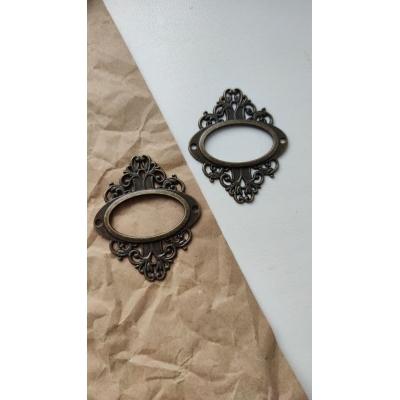 Винтажная рамка металлическая овальная  (бронза)