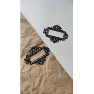 Винтажная рамка металлическая прямоугольная (бронза)