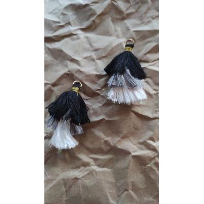Кисточка хлопок 55 мм, трехцветная (черный, серый, белый)