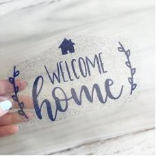 Надпись из термотрансфера с глиттером  Welcome home, цвет тёмно-синий, 14,3х8,9 см