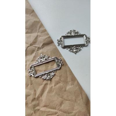 Винтажная рамка металлическая прямоугольная (серебро)