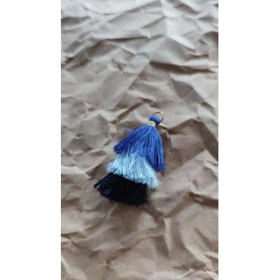 Кисточка хлопок 55 мм, трехцветная (оттенки синего)
