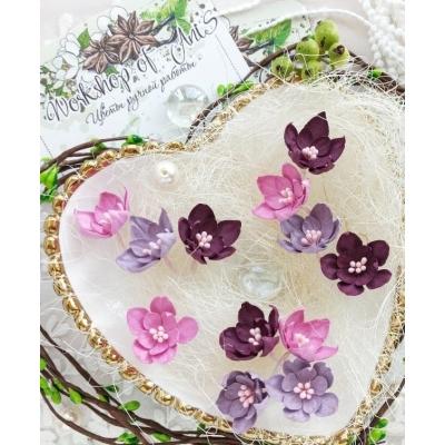 Бумажные цветы Малютки розовые и фуксия