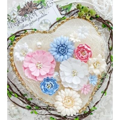 Бумажные цветы Пастельки розовый-голубой-белый