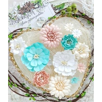 Бумажные цветы Пастельки персиковый-голубой-белый