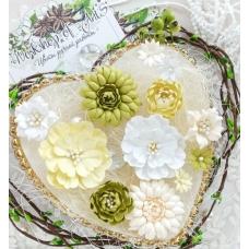 Бумажные цветы Пастельки желтый-зеленый-белый