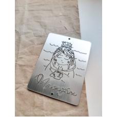 "Табличка ""Паспорт с девушкой"" серебро, 6х8 см"