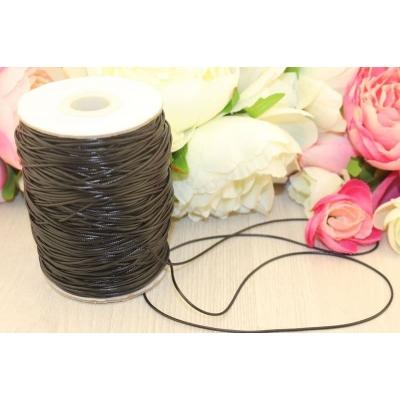 Шнур вощеный черный 1мм, 1 метр