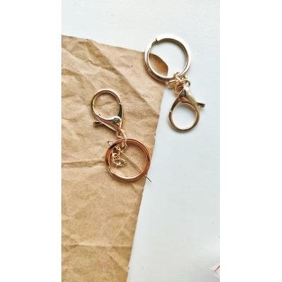 Карабин с кольцом и цепочкой, светлое золото