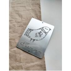 """Табличка """"Паспорт с птицей"""" серебро, 6х8 см"""