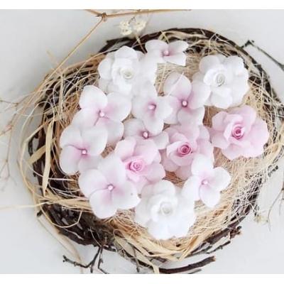 Набор цветов Гортензии и Розы, розовые