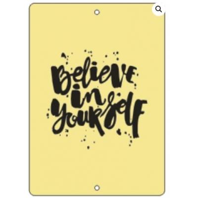"Табличка ""Believe in yourself"" золото, 6х8 см"