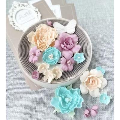 """Набор цветов """"Пионы и розы"""" мятно-персиковые"""