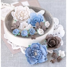 """Набор цветов Pastel Flowers """"Пионы и розы"""" бежево-синие"""