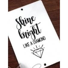 "Табличка ""Shine bright"" серебро, 6х8 см"