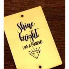 "Табличка ""Shine bright"" золотая, 6х8 см"