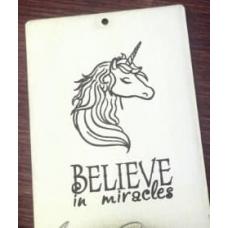 """Табличка """"Believe in miracles"""" серебро, 6х8 см"""