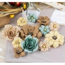 """Набор цветов Pastel Flowers """"Бархатная осень"""" бирюза"""