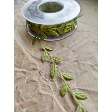 Тесьма с листиками, зеленая