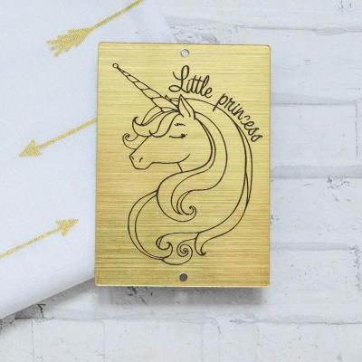 Табличка с единорогом Little Princess, золото, 5х7 см