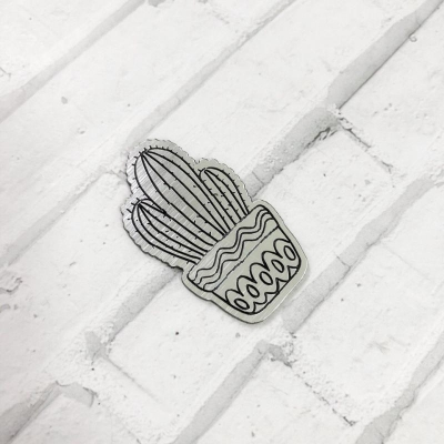 Табличка Кактус 4, 3,8х2 см, серебро