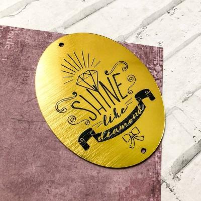 Табличка Shine like a diamond 5,5х7 см, золото