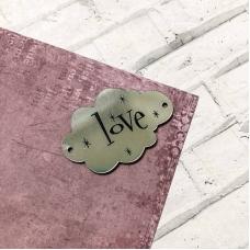 Табличка облачко Love, 3,5х5, серебро