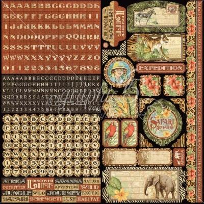 "Стикеры Safari Adventure Cardstock Stickers 12""X12"", Graphic 45"
