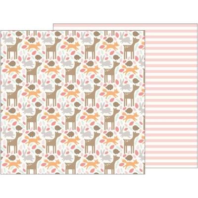 Двусторонний лист 30х30 Lullaby - Pebbles, Woodland Baby Girl