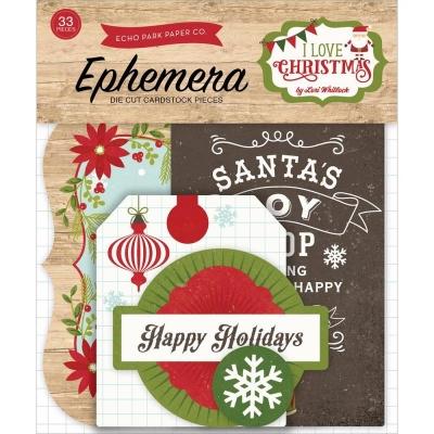 """Набор бумажных высечек """"I Love Christmas"""" от Echo Park"""