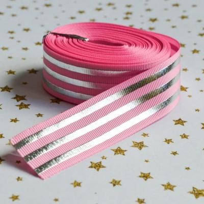 Лента репсовая с фольгированием, 25 мм ширина, розовая в серебряную полоску, 90 см