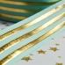 Лента репсовая с золотым фольгированием, 25 мм ширина, мятная в золотую полоску 90 см
