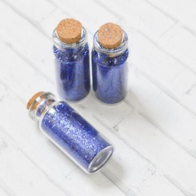 Бутылочка 5 см с глиттером, цвет синий