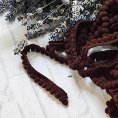 Помпошки 10 мм, цвет коричневый, 1 м