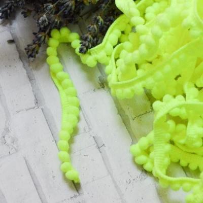 Помпошки 10 мм, цвет ярко-жёлтый, 1 м