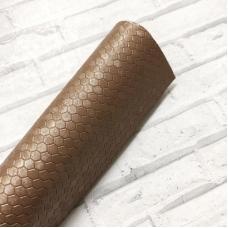 Отрез кожзам 33х50 см с текстурой соты, цвет золотисто-коричневый