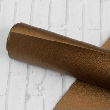 Отрез кожзама без узора, с крупной текстурой 33х50 см, цвет бронзовый