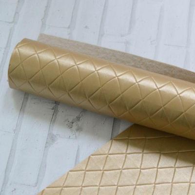 Отрез кожзама в мелкий ромб 33х50, цвет золотой песок