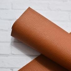 Отрез кожзама гладкий с мелкой текстурой, 33х50, цвет рыжевато-коричневый