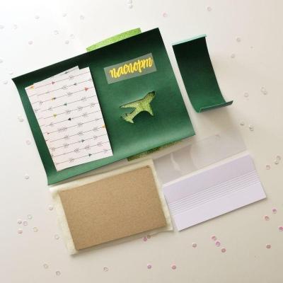 Набор для создания обложки на паспорт 3, зеленая, самолет