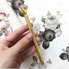 Ручка золотая с бриллиантом (Шариковая). Чернила чёрные