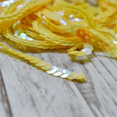Нить с пайетками, отрез 0,5м, желтая