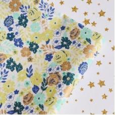 Отрез хлопка Цветы с золотом 3, желтые