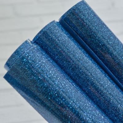 Отрез термотрансферной пленки с глиттером 25х25 см, синий