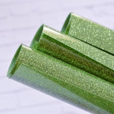 Отрез термотрансферной пленки с глиттером 25х25 см, светло-зеленый